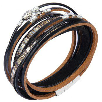 Fashion Jewelry Multi-Level Leather Handmade Rope Around Pentagram Bracelet - BLACK