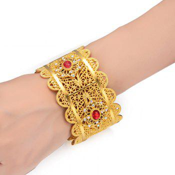 Wide Ladies Wedding Bracelet Red Diamond Bangle - YELLOW