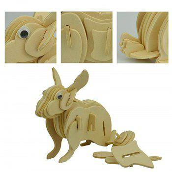 3D Rabbit Wooden Animal Puzzle Toy - WOOD