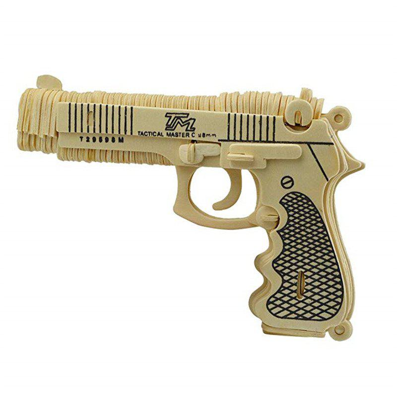 3D Wooden Aircraft Puzzle Pistol - WOOD