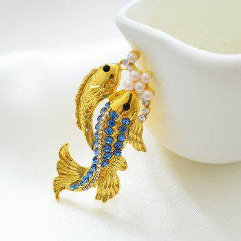 Cute Blue Crystal Fish Brooch Women's Animal Goldfish Valentine's Day Gift - GOLD