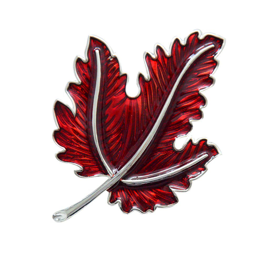 Vintage Maple Leaf Enamel Brooch Pin for Men Women Collar Accessory - RED WINE
