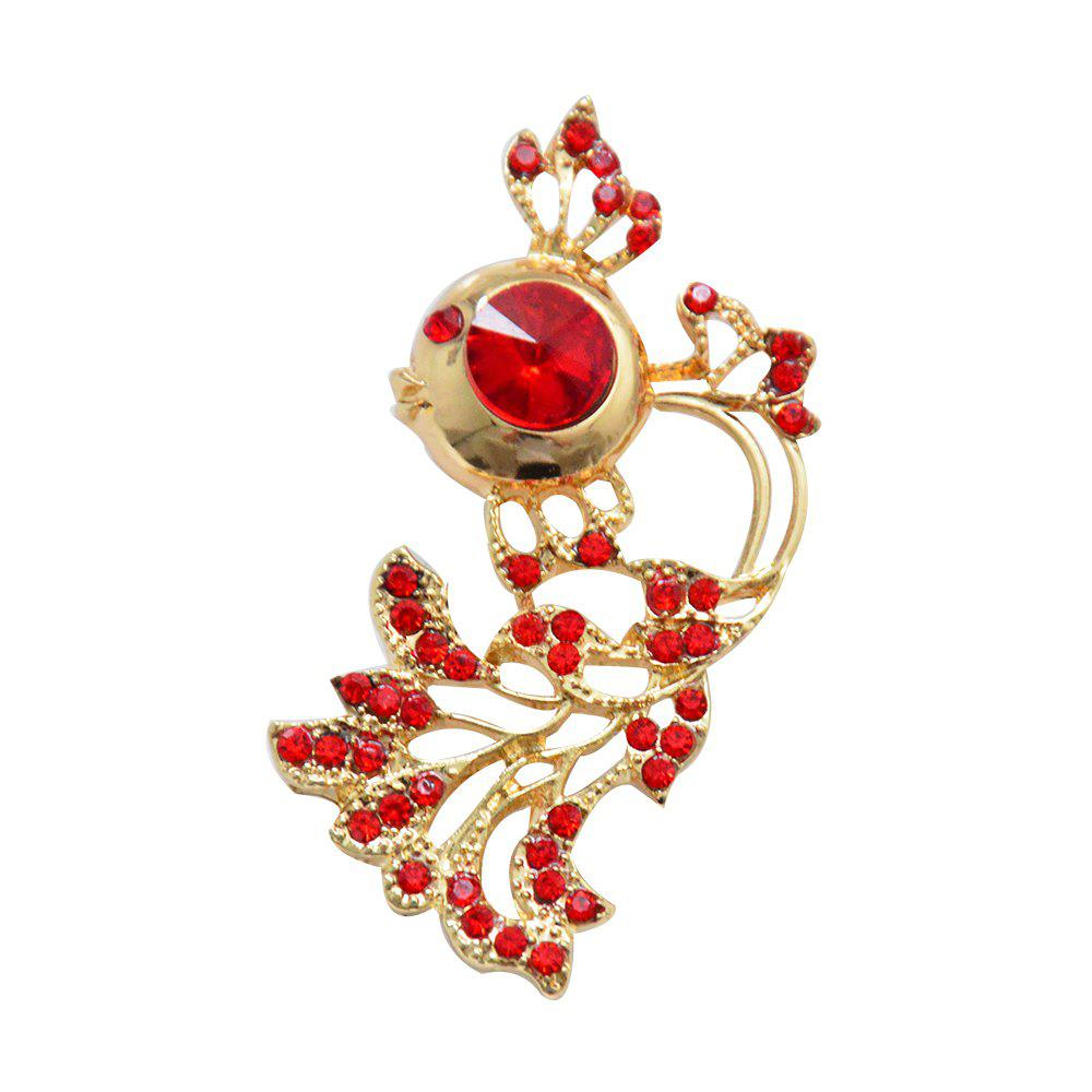 New Arrival Rhinestone Goldfish Brooch Pin for Women Clothes Jewelry Gift - RUBY RED