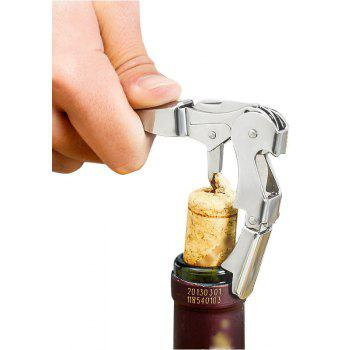 Stainless Steel Corkscrew Double Hinged Waiters Wine Bottle Opener Bar Tool - SILVER