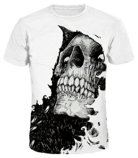 Men 3D Print Skull Short Sleeves Casual T-shirt - WHITE 3XL