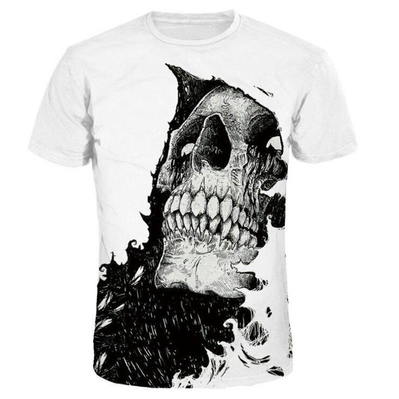 Men 3D Print Skull Short Sleeves Casual T-shirt - WHITE 2XL
