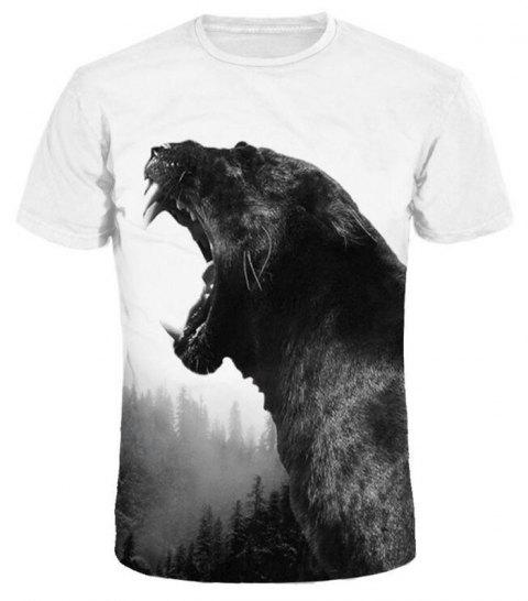 Men 3D Print Black Cheetah Short Sleeves Casual T-shirt - WHITE M