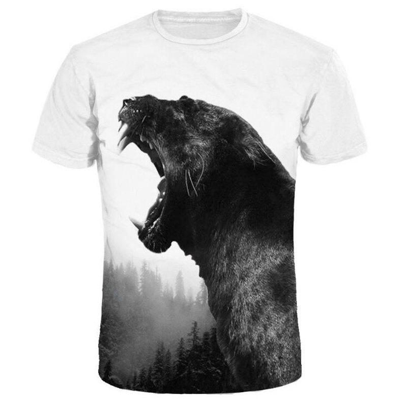 Men 3D Print Black Cheetah Short Sleeves Casual T-shirt - WHITE XL