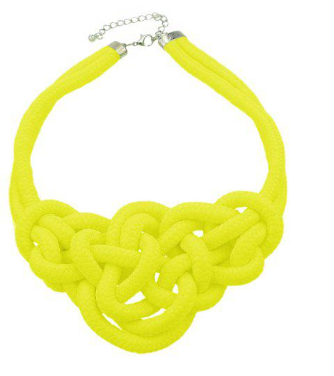 Colored Knitted Rope Choker Neon Necklaces - YELLOW