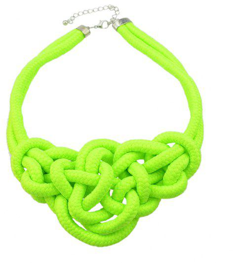 Colored Knitted Rope Choker Neon Necklaces - GREEN YELLOW