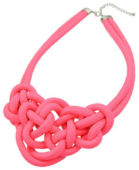 Colored Knitted Rope Choker Neon Necklaces - WATERMELON PINK