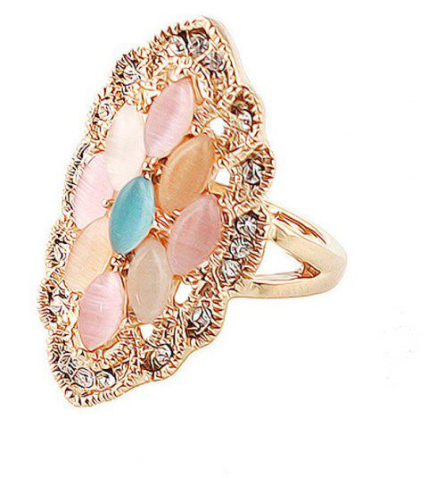 Metal Geometry with Rhinestone and Imitation Stones Ring - GOLD ONE-SIZE