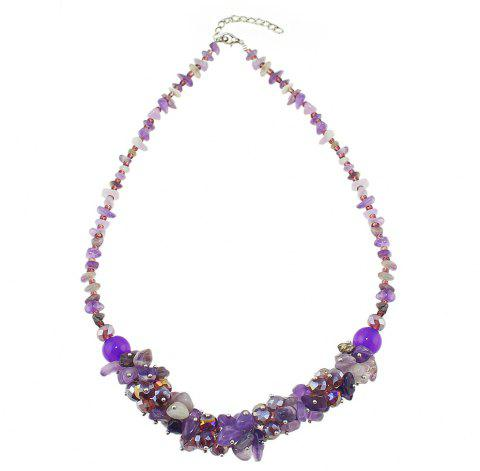 Natural Stone Colorful Bead Crystal Chain Necklace - DARK VIOLET