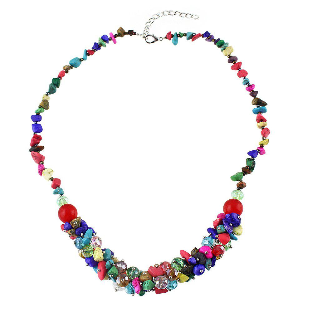 Natural Stone Colorful Bead Crystal Chain Necklace - multicolor