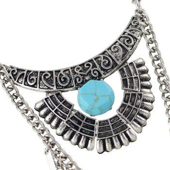 Fashion Ethnic Style Silver Color Necklace for Women - SILVER