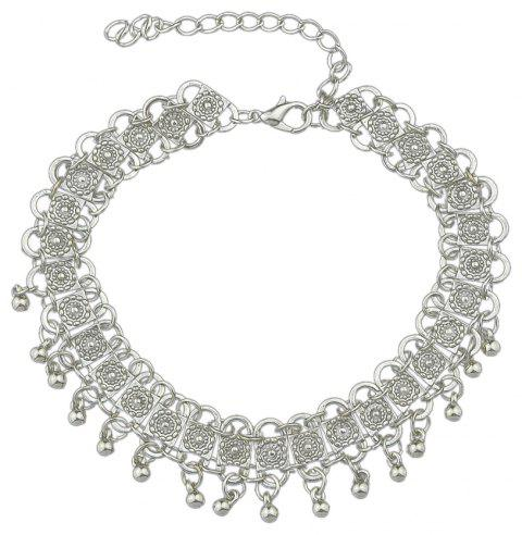 Silver Color Charm Chain Necklace Ethnic Choker - SILVER