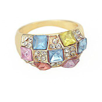 Fashion Colorful Gemstones Full Drilled Female Ring - GOLD ONE-SIZE