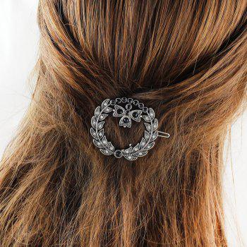 Rhinestone Black Bead Leaf Round Hairgrip - SILVER
