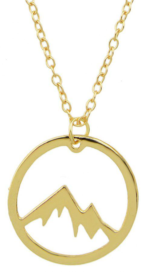 Gold Silver Color Round Shape Pendant Necklace - GOLD