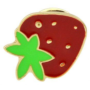 Gold-color with Green Red Strawberry Shape Brooch Pins - multicolor
