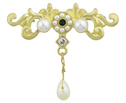 Simulated-pearl Gold Flower Shape Brooch Pin - GOLD