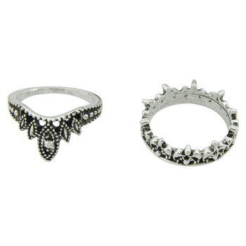 5pcs Silver Color Beads Flower Knuckle Finger Rings - SILVER RING SET