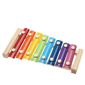 Children's Wisdom Toys Wooden Steel Piano Early Teaching Musical Instruments - multicolor A