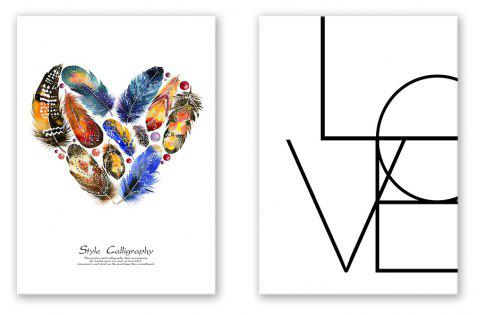 2 PCS W403 Lettter Feather Unframed Canvas Prints for Home Decorations - multicolor 40CM X 56CM X 2PCS