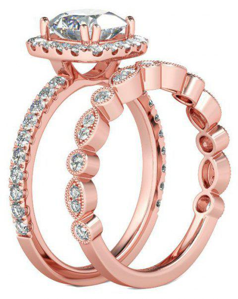 Fashion New Rose Gold Crystal Couple Ring - ROSE GOLD US SIZE 8