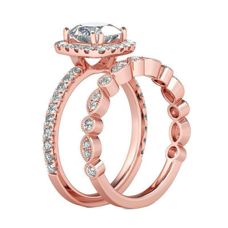 Bague de couple en or rose et cristal - Or Rose US SIZE 8