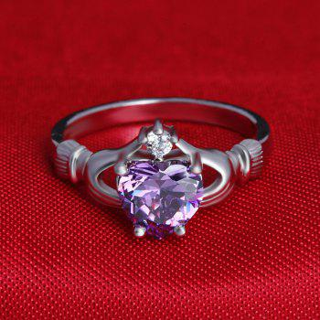 Holding Heart Shaped Color Gemstone Crystal Ring - PURPLE US SIZE 7