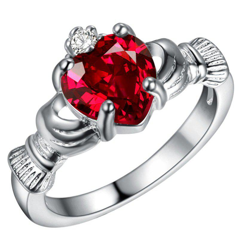 Holding Heart Shaped Color Gemstone Crystal Ring - RED US SIZE 10
