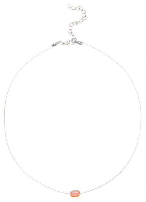 Short Paragraph Exquisite Circle Crystal Clavicle Chain Necklace - PINK