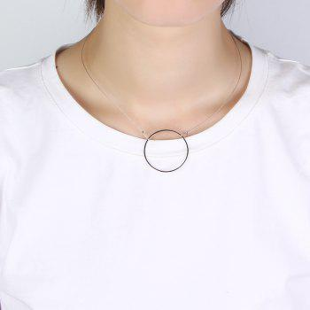 Short Paragraph Exquisite Circle Crystal Clavicle Chain Necklace - SILVER