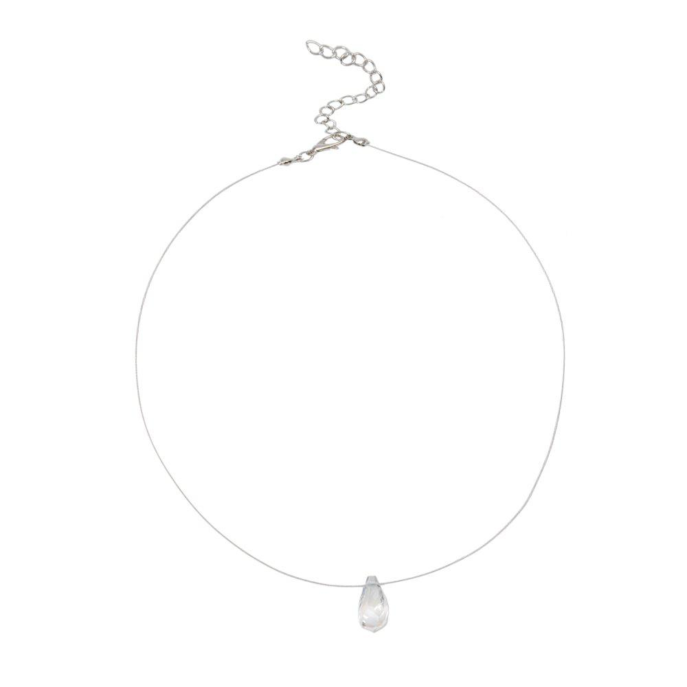 Short Paragraph Exquisite Circle Crystal Clavicle Chain Necklace - TRANSPARENT
