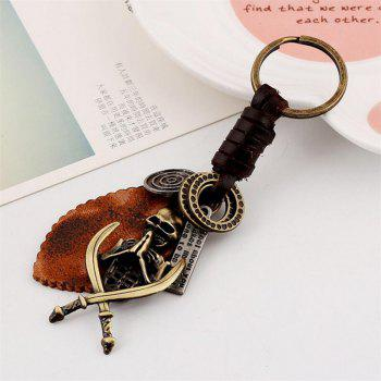 European and American New Retro Woven Men'S Leather Keychain - BRONZE