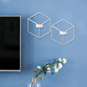 3D Geometric Candlestick Metal Wall Candle Holder for Home Decorations Weddings - WHITE
