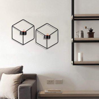 3D Geometric Candlestick Metal Wall Candle Holder for Home Decorations Weddings - BLACK