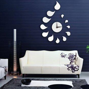 Silent Wall Clock DIY Personality Time Mirror Sticker - SILVER