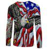 2018 Men Casual Fashion Eagle 3D Print Long T-Shirt - multicolor L