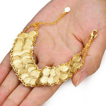 Gold Colour Coin Bracelet Women Man Bangle Jewelry - YELLOW