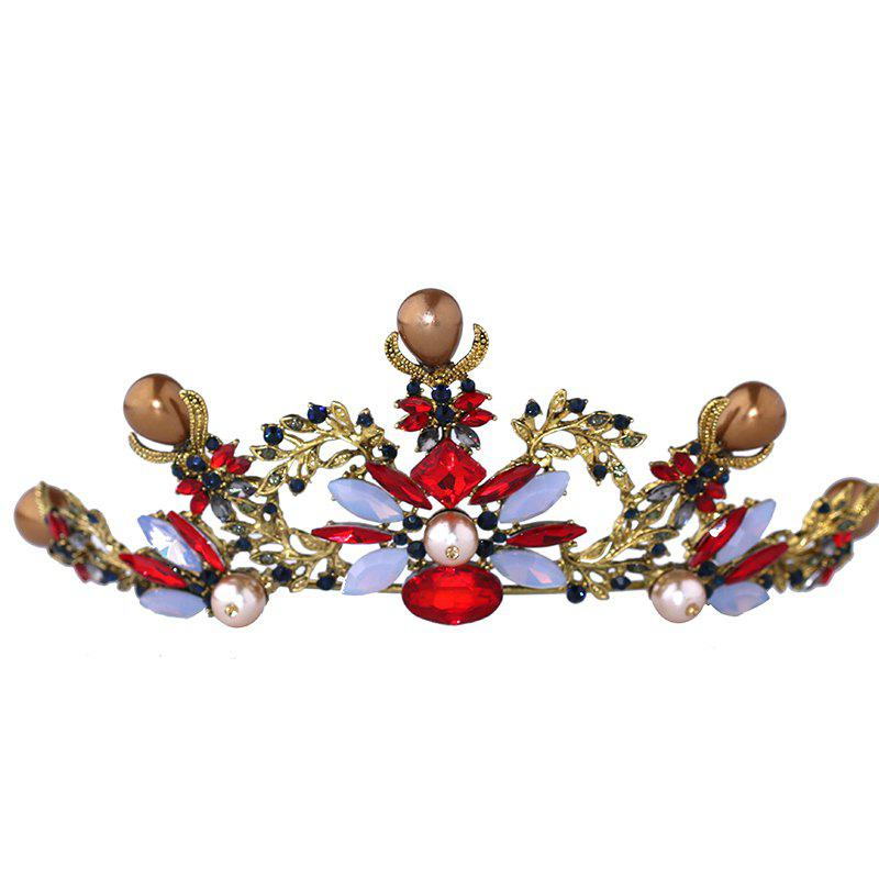 Bride Accessory Baroque Color Crystal Crown - multicolor 6 X 18CM