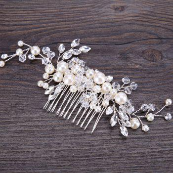 Bride Accessory White Crystal Pearl Hair Comb - WHITE 6 X 13CM