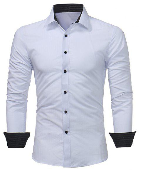 2018 Classic Dark Striped Embossed Men's Casual Slim Long Sleeve Shirt - WHITE XL