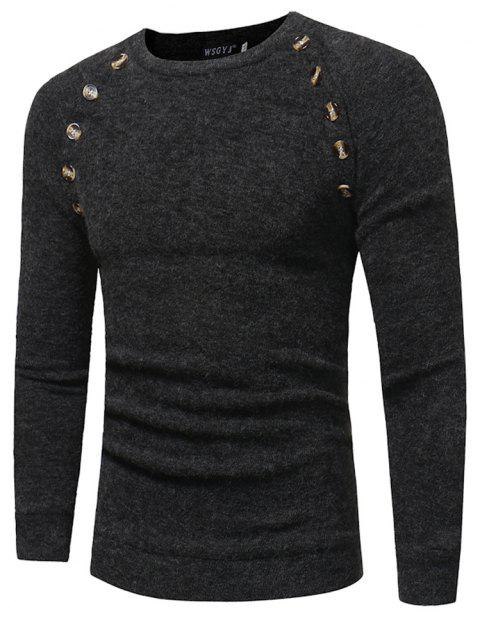 Men's New Fashion Button Stitching Solid Color Long-sleeved Knit Sweater - DARK GRAY 3XL