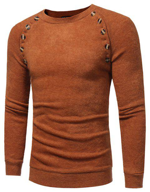 Men's New Fashion Button Stitching Solid Color Long-sleeved Knit Sweater - LIGHT BROWN 3XL