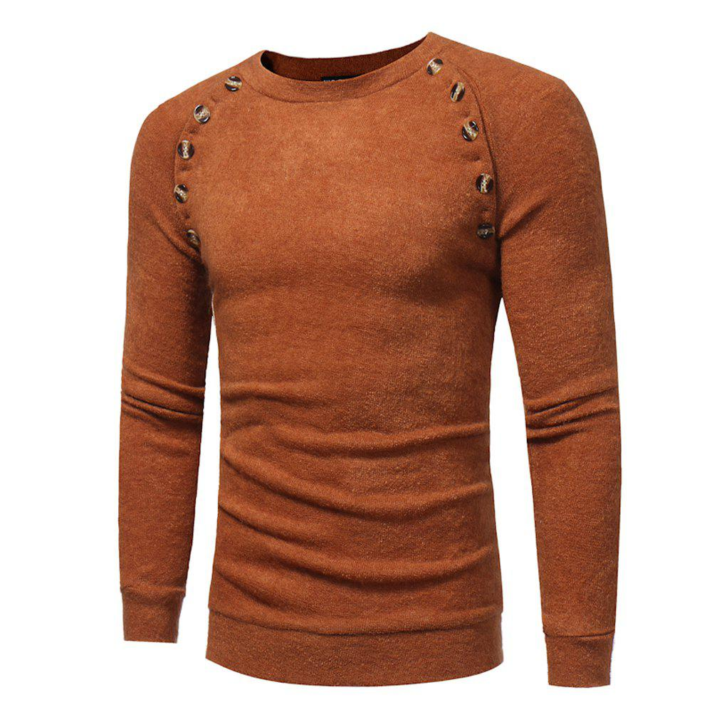 Men's New Fashion Button Stitching Solid Color Long-sleeved Knit Sweater - LIGHT BROWN XL