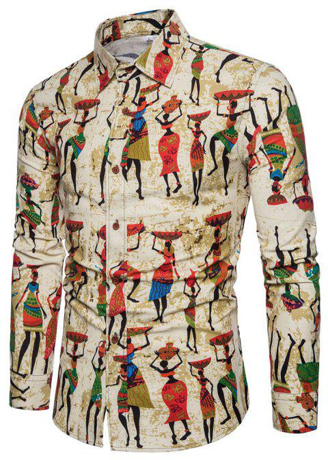 Plus Size Men's Stylish Slim Fit Button Down Long Sleeve Figure Painting Shirt - GINGER BROWN 2XL