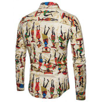 Plus Size Men's Stylish Slim Fit Button Down Long Sleeve Figure Painting Shirt - GINGER BROWN L