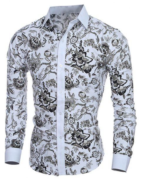beb150656 17% OFF] 2019 Men's Long Sleeve Stylish Floral Casual Button Down ...